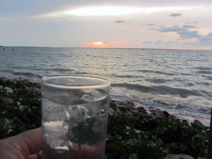 g&t at the yacht club at sunset