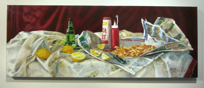 Kimberley Dodd, Still Life with Chips and Sauce