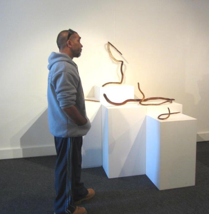 Darren Mongta with his snake sticks