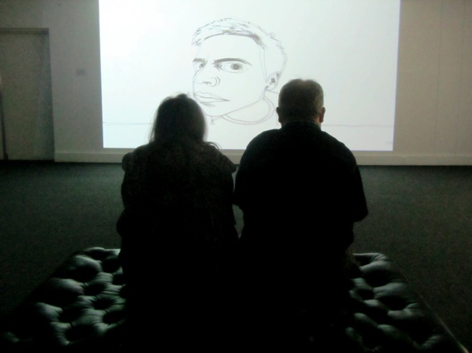 Jen and Gra watch Dom Aldis's animation