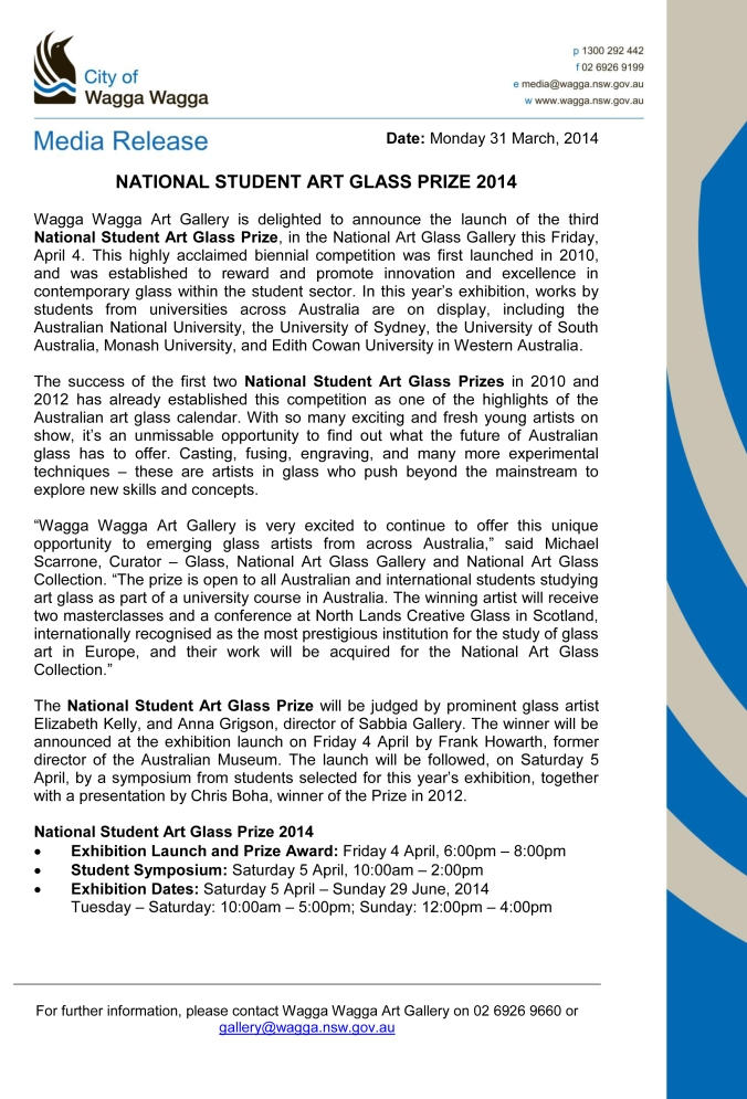 Media Release - National Student Art Glass Prize 2014 - final