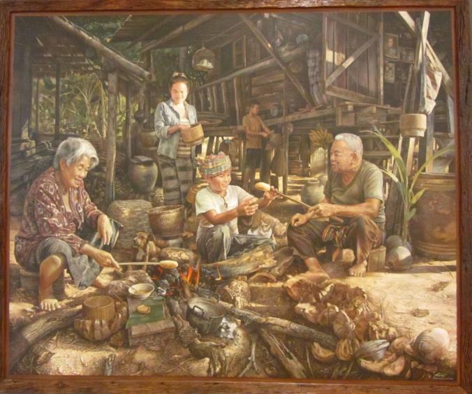 Paiboon Thamruangrit, Dinner at Kok Sithon, acrylic on canvas