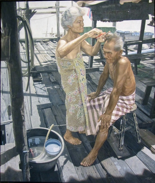 Sornchai Kongwun, Life Partner, acrylic on canvas