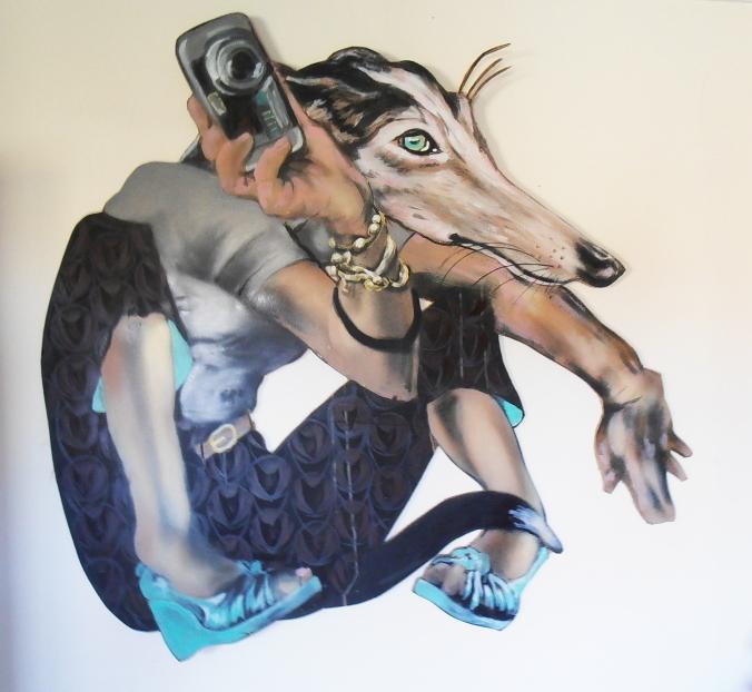 Byrd, Doggerel, spray and house paint on cardboard, 1100 x 1200 cm