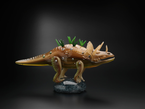 Tom Moore, Actual Triceratops, hot-joined, blown and solid glass