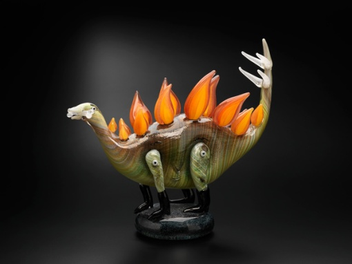 Tom Moore, Flaming Stegasaurus, hot joined, blown and solid glass