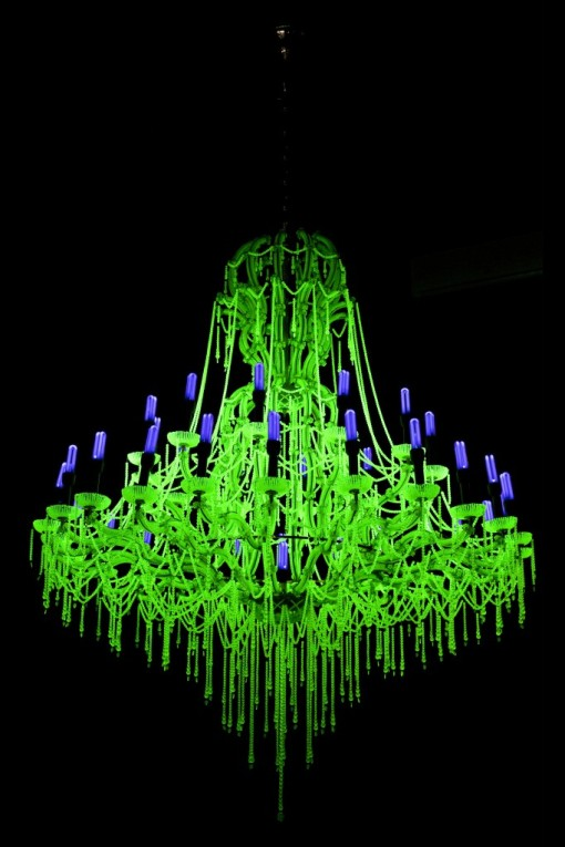 Ken and Julia Yonetani, 'Crystal Palace: The Great Exhibition of the Works of Industry of all Nuclear Nations' (USA), 2013, metal, UV lighting, uranium glass