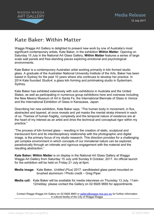 Media Release - Kate Baker - Within Matter-1