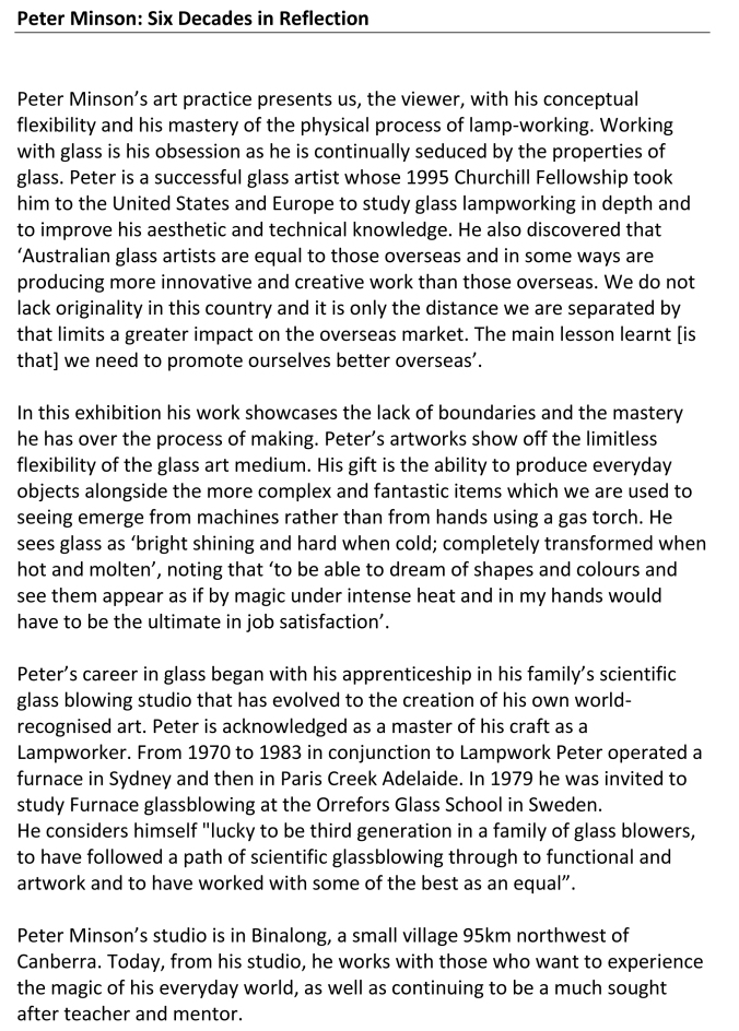 Peter Minson art Gallery Blurb